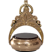 Victorian Carnelian Bloodstone Pendant | 9K Gold Antique | Fob Seal