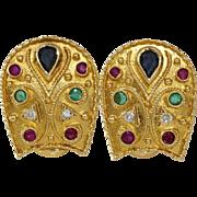 Etruscan Revival Gold Earrings   18K Sapphire Diamond Ruby   Emerald