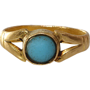 Victorian Gold Baby Ring | 18K Yellow Turquoise | Antique Pinky