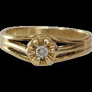 Art Deco Diamond Ring | 14K Yellow Gold | Vintage Engagement Solitaire