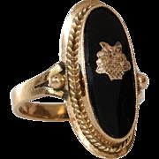 Retro Onyx Cocktail Ring | 14K Yellow Gold | Vintage Flower Basket
