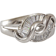 Cubic Zirconia Cocktail Ring | 14K White Gold | Vintage Israel Cocktail