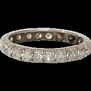 Diamond Eternity Ring   14K White Gold   Vintage Brilliant Cut