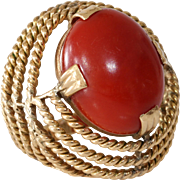 Retro Coral Gold Ring | 18K Yellow Oxblood | Vintage Cocktail Red