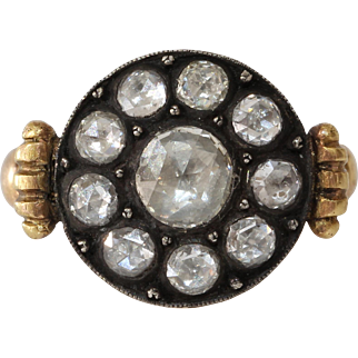 Victorian Russian Diamond Ring | 18K Gold Silver | Antique Cocktail