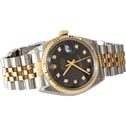 Rolex Oyster Perpetual Watch | 18K Yellow Gold Diamond | Steel Date