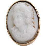 Victorian Lava Cameo Brooch | 14K Yellow Gold White | Antique Pin