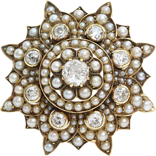 Victorian Diamond Pearl Brooch | 9K Gold Star | Antique Pendant Pin