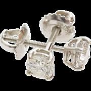 Diamond Stud Earrings   14K White Gold   Vintage Brilliant Solitaire