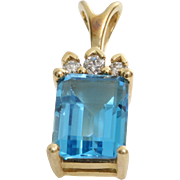 Blue Topaz Diamond Pendant | 14K Yellow Gold | Vintage Rectangle Israel