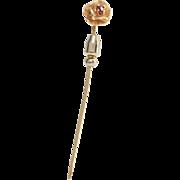 Victorian Flower Stick Pin | 14K Gold Ruby | Antique Scarf Hat Cravat