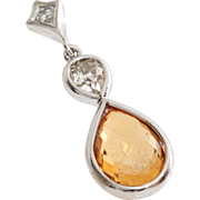 Orange Sapphire Diamond Pendant | 14K White Gold | Vintage Briolette