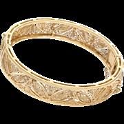 Gold Cuff Bracelet   18K Yellow Filigree   Vintage Bangle Israel Hinged