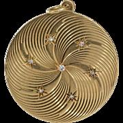 Retro Diamond Pendant | 14K Yellow Gold | Vintage Monogram USA