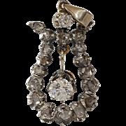 Victorian Diamond Pendant   14K Gold Silver   Antique Georgian Drop