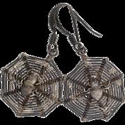 Spider Web Silver Earrings | 925 Sterling Drop | Vintage Fish Hook