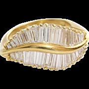 Diamond Cocktail Ring | 18K Yellow Gold | Vintage Retro Baguette Cut