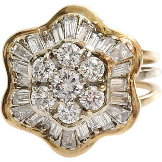 Diamond Cocktail Ring | 18K Yellow Gold | Vintage Retro Brilliant Cut