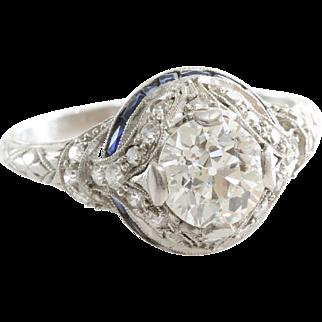Art Deco Diamond Ring | Platinum Sapphire | Vintage Engagement 2.66Ct