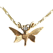 Butterfly Pendant Necklace | 14K Gold Diamond | Vintage Chain Italy