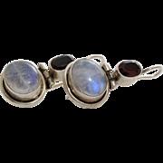 Moonstone Garnet Silver Earrings | 925 Sterling Drop | Vintage Israel