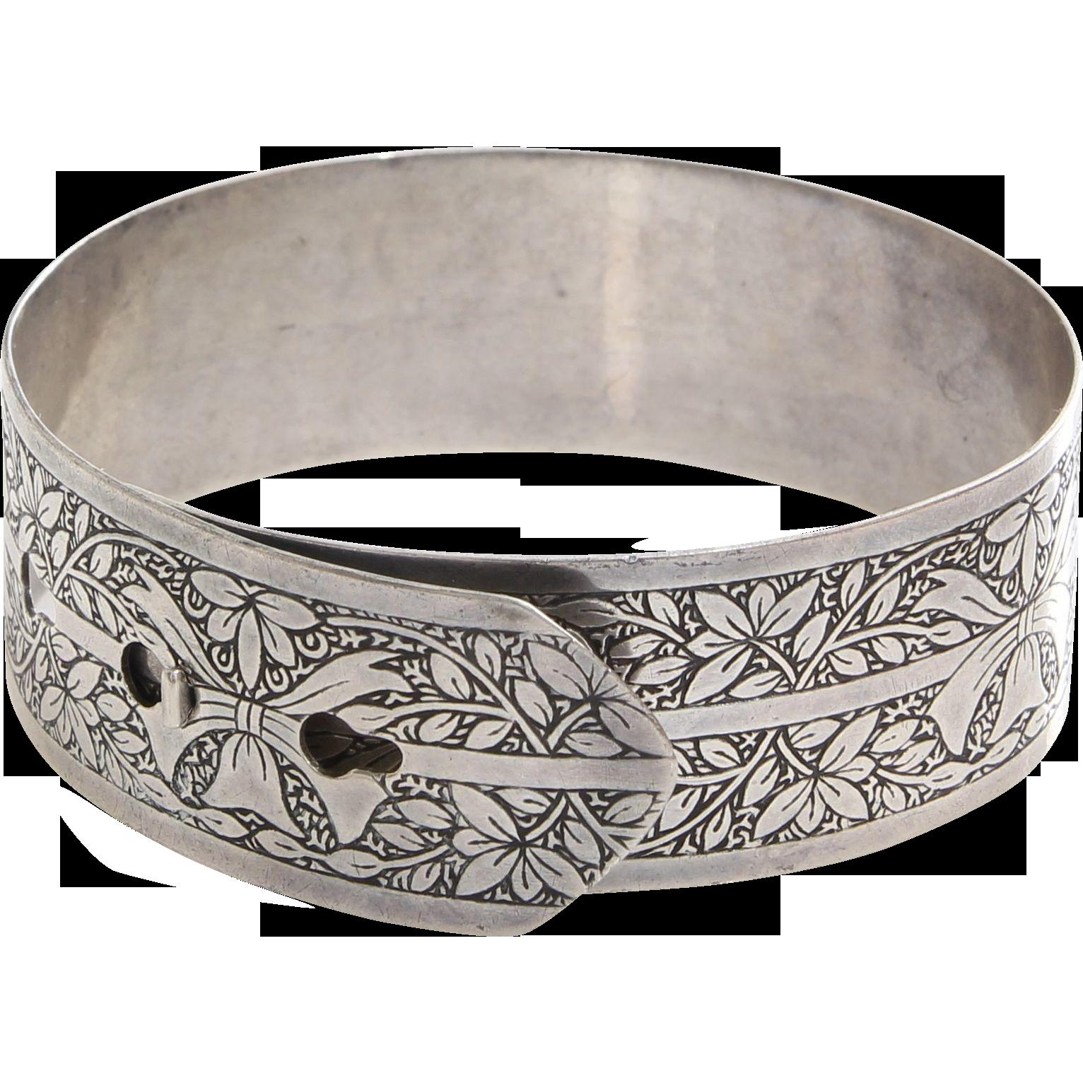 Belt Buckle Bangle Bracelet Charles Horner Sterling Silver Vintage The Gryphon S Nest Ruby Lane