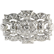 Edwardian Diamond Platinum Brooch | French Art Nouveau | Antique Pin