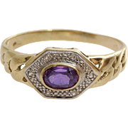 Amethyst Gold Ring | 14K Bicolor Gold | Vintage Cubic Zirconia Israel
