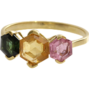 H Stern Tourmaline Ring | 18K Yellow Gold | Vintage Green Pink Brazil