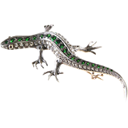 Victorian Lizard Brooch | Diamond Demantoid Gold | Ruby Antique Russia
