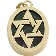 Magen David Gold Pendant | Malachite 14K Yellow | Vintage Israel Charm