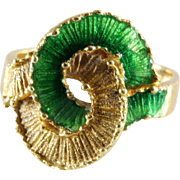 Enamel Gold Ring   18K Yellow Green   Vintage Cocktail Entwined Knot