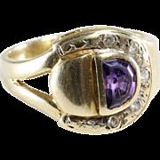 Amethyst Diamond Mens Ring | 14K Yellow Gold | Vintage Israel Gent