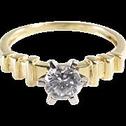 Cubic Zirconia Engagement Ring | 14K Yellow Gold | Vintage Diamond CZ