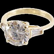 Cubic Zirconia Engagement Ring | 14K Gold Brilliant | Vintage Diamond