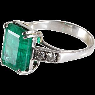 Emerald Diamond Ring | 18K White Gold | Vintage Engagement Cocktail