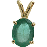 Oval Emerald Pendant | 14K Yellow Gold | Vintage Israel Solitaire
