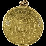 Doubloon Gold Coin Pendant   1772 Eight Escudos   Antique Mexico 21K