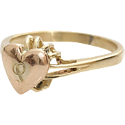 Gold Heart Ring   14K Yellow Rose Vintage   Promise Engraved Bicolor