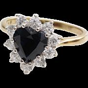 Sapphire Heart Halo Ring   9K Bicolor Gold   Vintage Cubic Zirconia