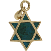 Magen David Gold Pendant | Eilat Stone 14K Yellow | Vintage Star