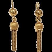 Gold Tassel Drop Earrings | 18K Yellow Rope | Vintage Italy Dangle