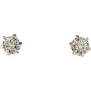 Art Deco Diamond Stud Earrings | 14K White Gold | Vintage Brilliant