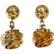 Gold Ball Drop Earrings | 18K Yellow Italy | Vintage Retro Chandelier