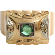 Emerald Diamond Cocktail Ring | 18K Yellow Gold | Vintage France Round