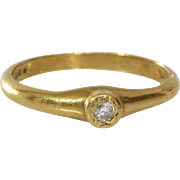 Diamond Engagement Ring | 18K Yellow Gold | Round Brilliant Vintage
