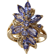Tanzanite Gold Cocktail Ring | 14K Yellow Vintage | Marquise Cut USA