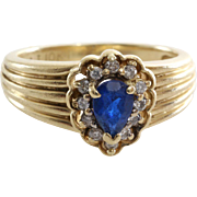 Sapphire Diamond Halo Ring | 10K Yellow Gold | Vintage Engagement