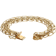Retro Link Chain Bracelet | 14K Yellow Gold | Vintage Rope Chunky USA