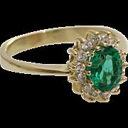 Emerald Diamond Halo Ring | 14K Yellow Gold | Vintage Engagement Oval